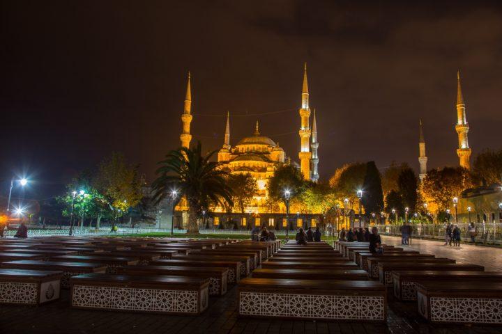 2. Голубая мечеть ночью.