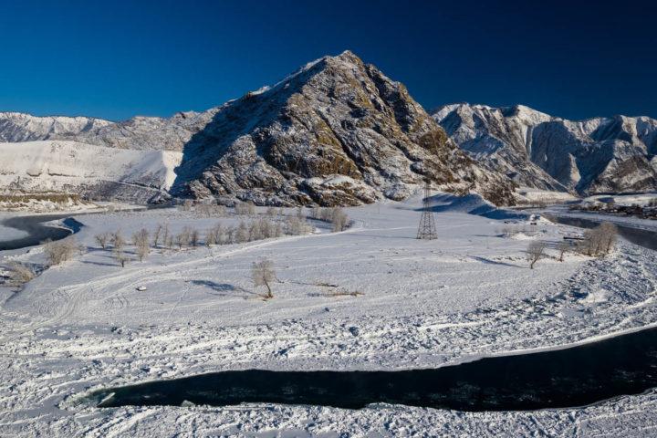 Katun river in the winter at dawn. Gorny Altai, Siberia.