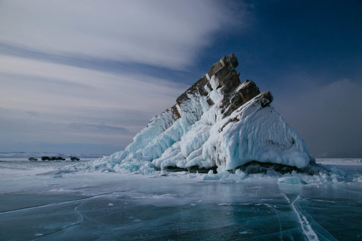 The rocky island in the ice