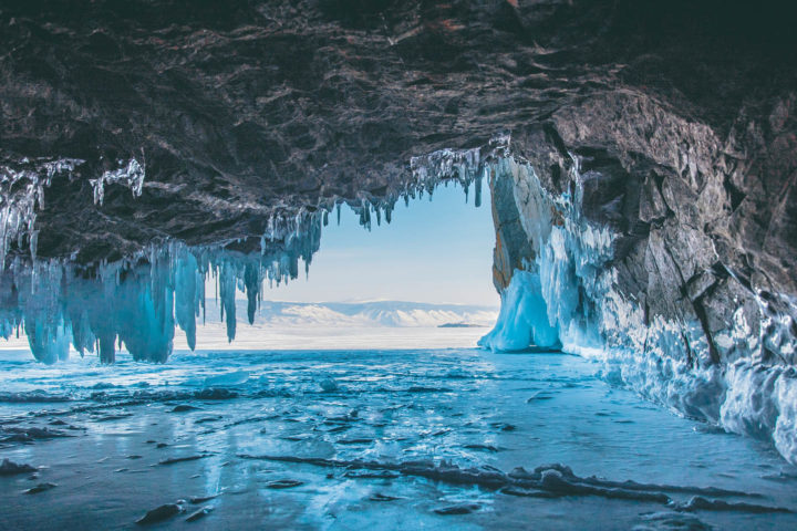 Ice cave, Lake Baikal, Winter landscape.