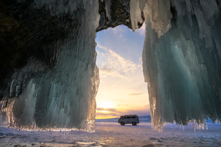Ice cave on Olkhon island on Baikal lake in Siberia at winter ti