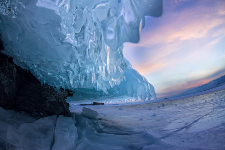 Landscape of the ice canopy on the rock of the island of Olkhon on the winter Baikal